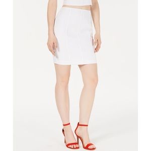 GUESS Makara Seamed Pencil Skirt in Pure White